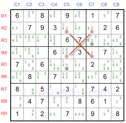 A sudoku grid filled with pencil marks with 4 cells focused on creating the shape of X.