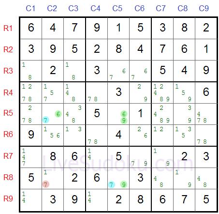 XY Wing w Sudoku przykład