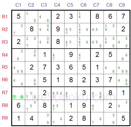 Sudoku rettangolo XY Esempio