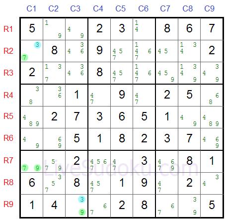 Sudoku XY Flügel Beispiel