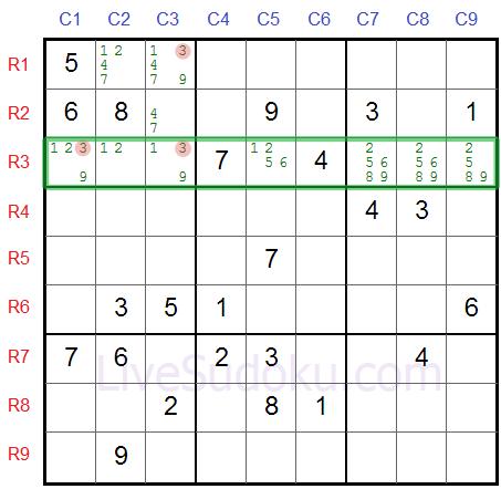 Sudoku Locked Candidates type 2