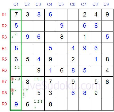 Sudoku Locked Candidates type 2 - Second Example